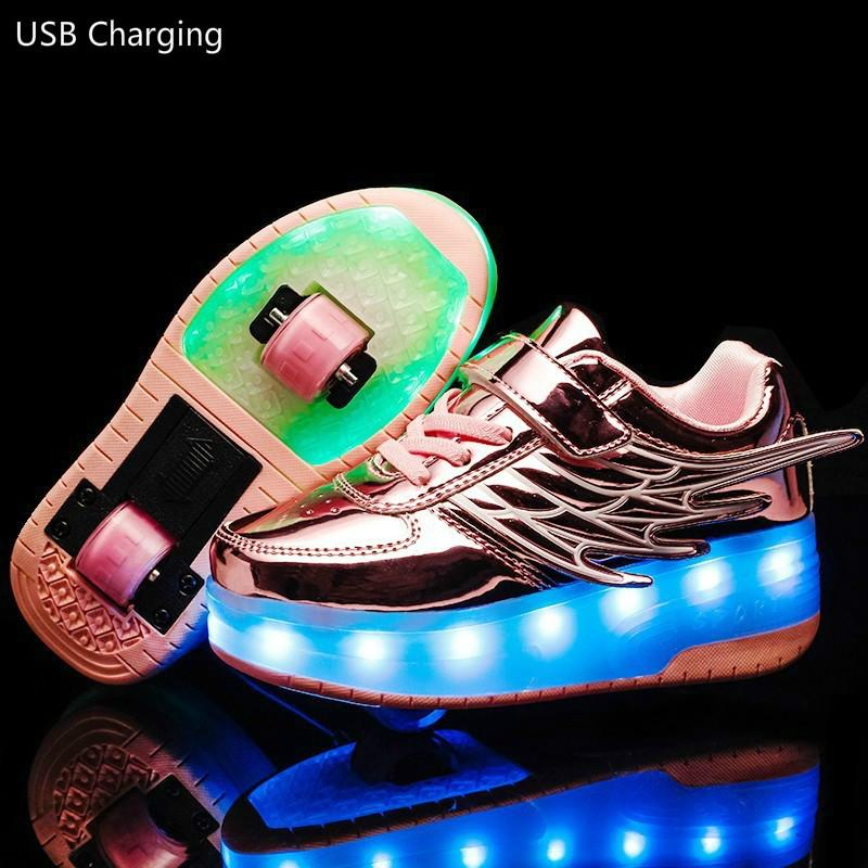 Children/'s  Single Double Roller Skates Charge LED Lights Sports  Running Shoes