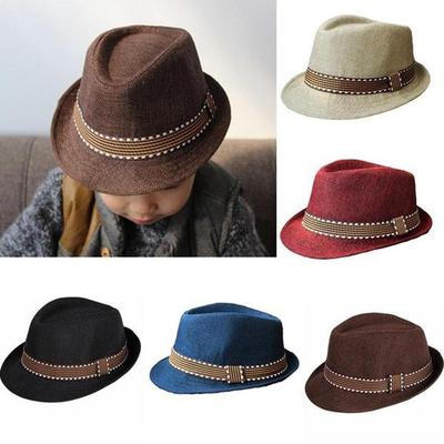 Toddler Kid Baby Girl Boy Fedora Hat Jazz Cap Photography Cotton Trilby Top  Cap cf757223f3e3