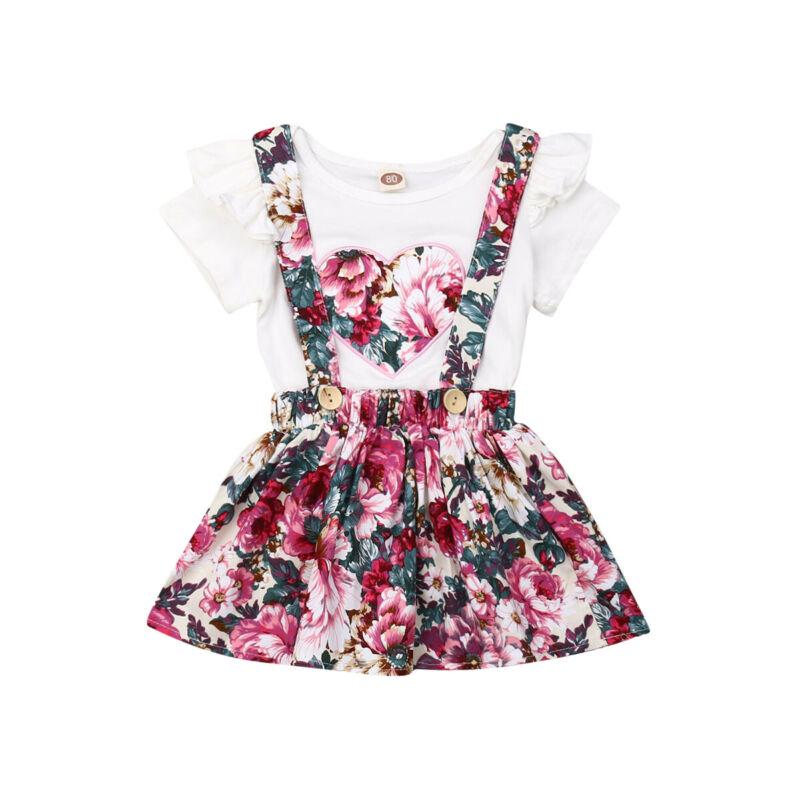 2Pcs Toddler Baby Girl Bowknot Tops+Floral Skirt Dress Summer Clothes Outfit Set