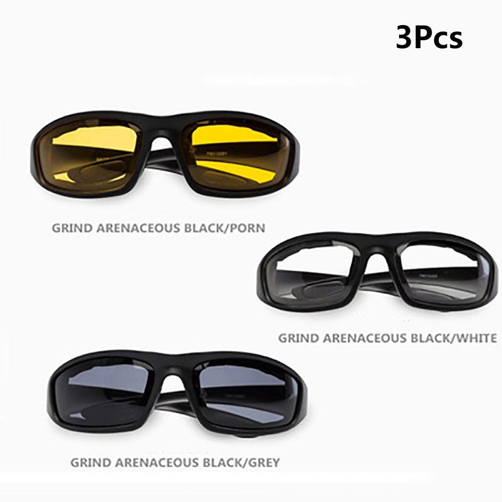 3Pcs Motorcycle Biker Bicycle Riding Protective Glasses Sports Goggles Windproof