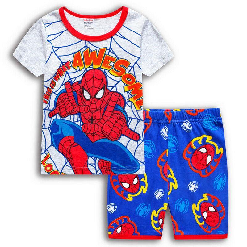 Kids Boys Short Sleeve Tops Shorts Pyjamas Pjs Set Summer Cartoon Hero Clothes