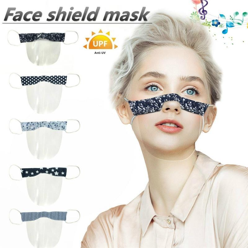 Sotck in usa,ESKMOOM PVC Visual mouth Mini Shield,Washable Reusable Comfortable Transparent lightweight earloop 1PC