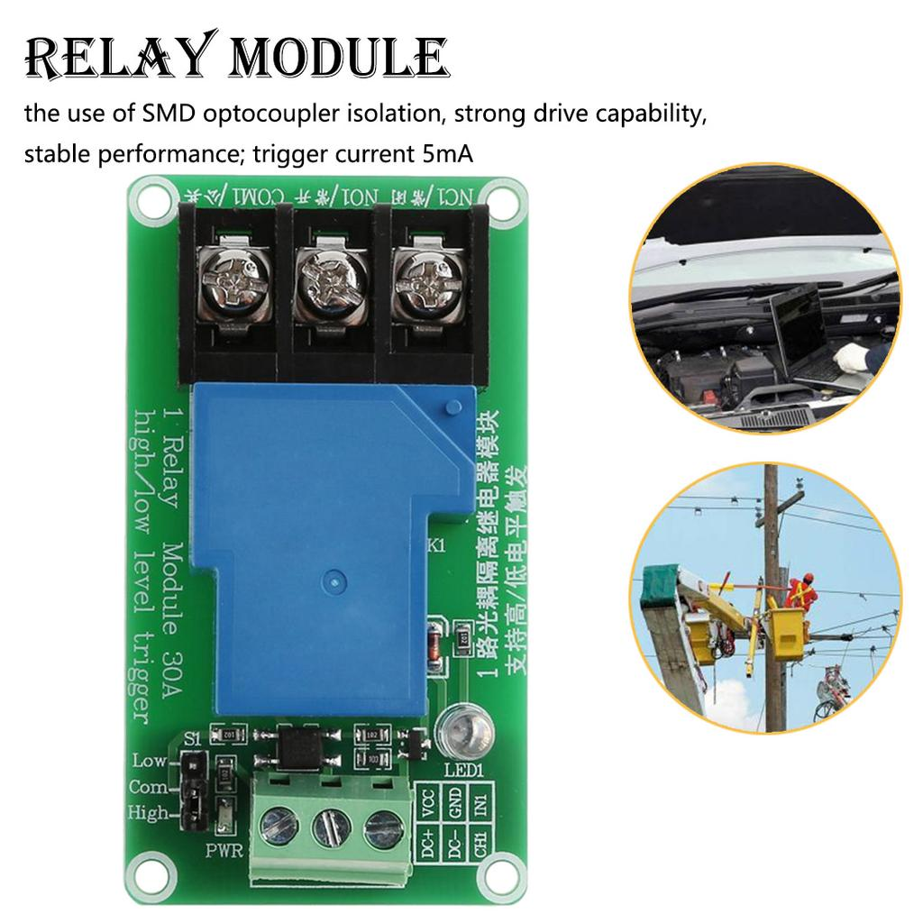 Microcontroller DC 24V High//Low Level Trigger 4-CH Power Relay Module