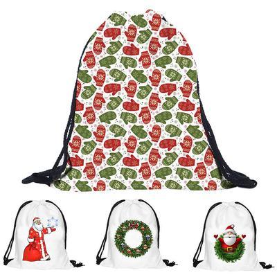 484a0038d9387 Navidad regalo dulces paquete Pocket 3D impresión bolsas Drawstring mochila