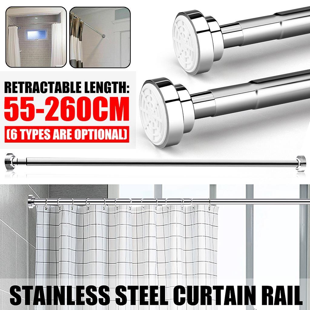 55-300cm Stainless Spring Extendable Telescopic Net Curtain Rod Pole Rail Bath