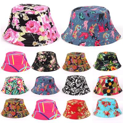 9a50fddc75216a Floral Panama Cap Women Printed Bucket Hat Ladies Summer Outdoor Hunting  Fishing Beach Sun Hat