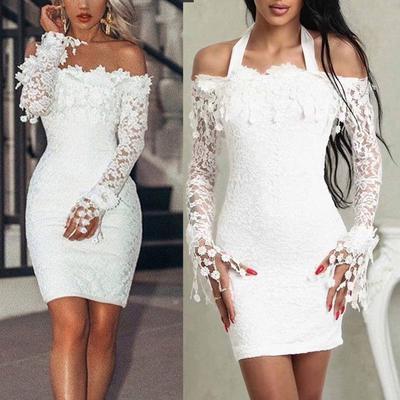 008f65b7d5 Seksowna Koronkowa Sukienka Z Długim Rękawem Kobiety Ubierają Bodycon Off  Shoulder Lace Wedding Party Krótka Mini