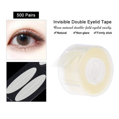 500 Pairs Adhesive Invisible Double Fold Eyelid Tape Stickers Stripe Paste  Clear Beige