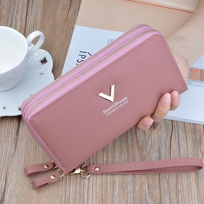 Fashion Flower Pattern Womens Envelope Leather Wallet Button Clutch Purse Long Handbag Zip Bag Big Coin Purse Green