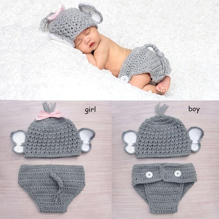 Crochet bebé elefante traje de punto sombrero del bebé y conjunto de ...