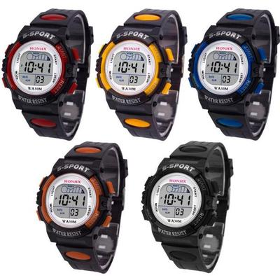 1 PC Waterproof Children Boys Digital LED Sports  Kids Alarm Date Watch Gift
