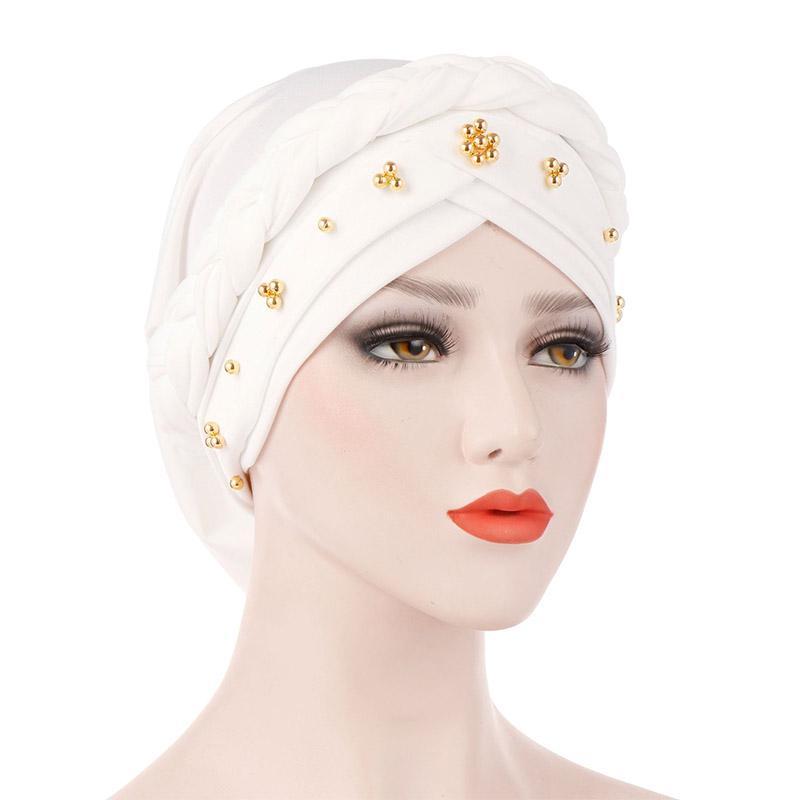 Women Muslim Hair Loss Braid Head Wrap Hijab Turban Cancer Cap Hat Solid Color