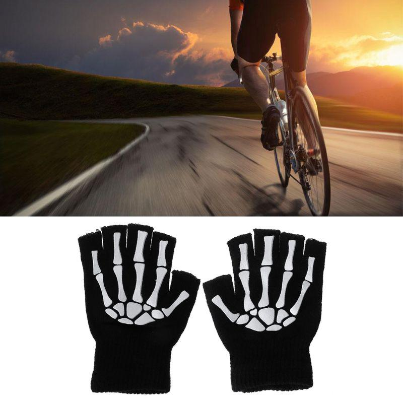 Sports Racing Cycling Bike Gym Breathable Wolf Head Half Finger Fitness Gloves