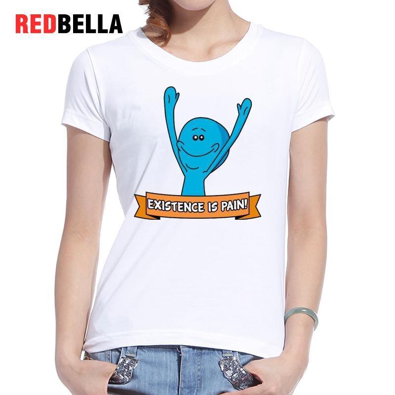 0e070e2102ae4 Mujeres camiseta cuello O Rick Señor Morty Meeseeks azul levantado ...