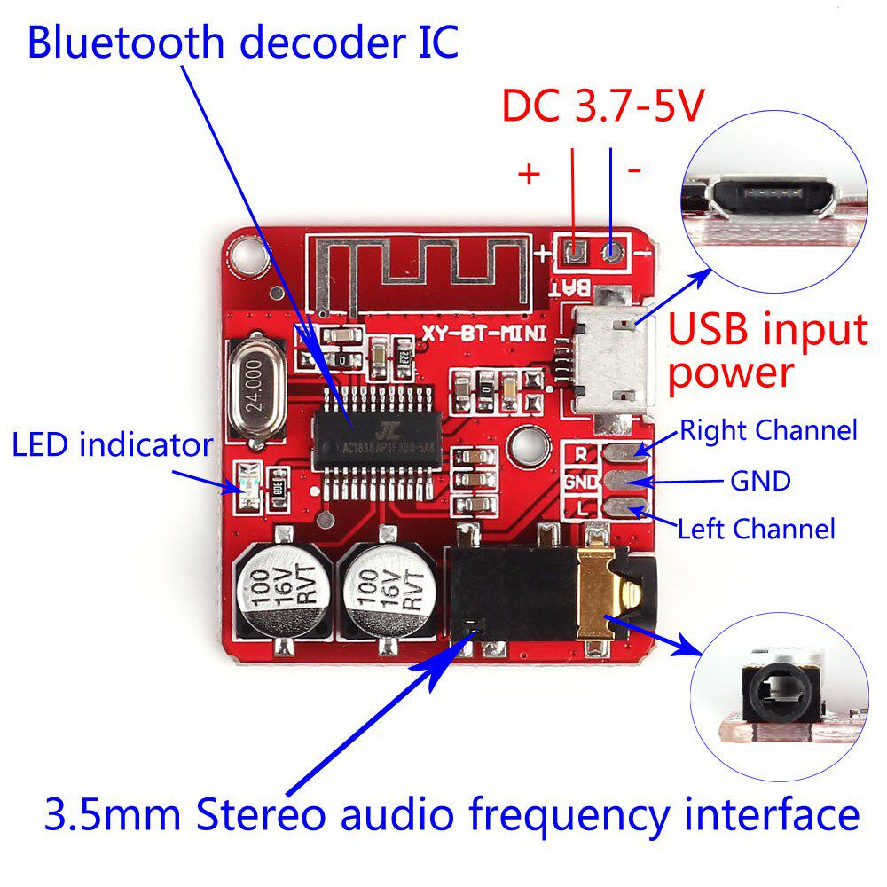 Wireless Bluetooth 5.0 Audio Receiver Decoder Stereo Board DC3.7-24V