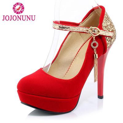 71ddcefa5 Tamanho 33-42 mulheres salto alto redondo Toe bombas plataforma sapatos  fivela cinta Glitter festa