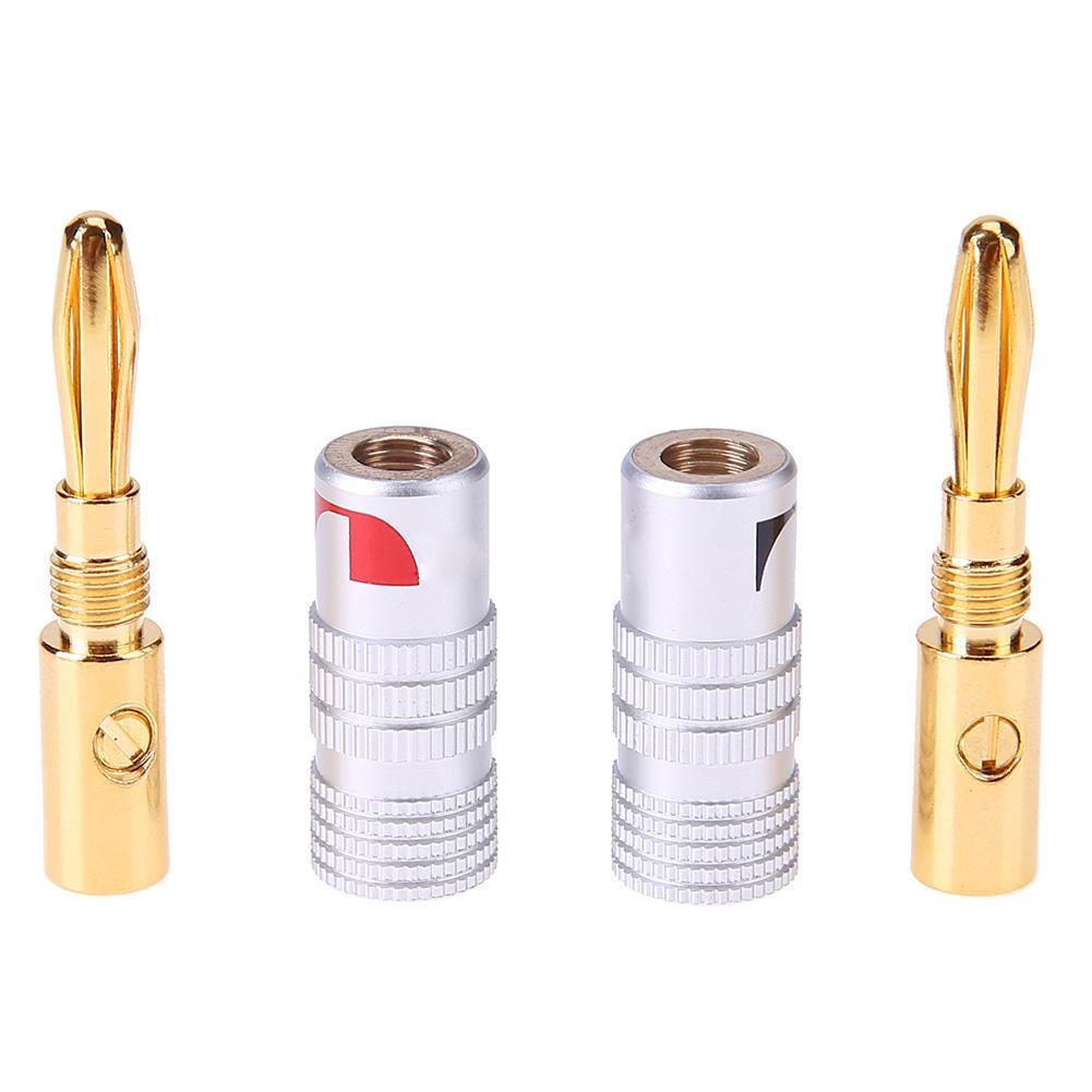 4 PACK---- 24K Gold Nakamichi Speaker Banana Plug DIY Audio Jack Connector