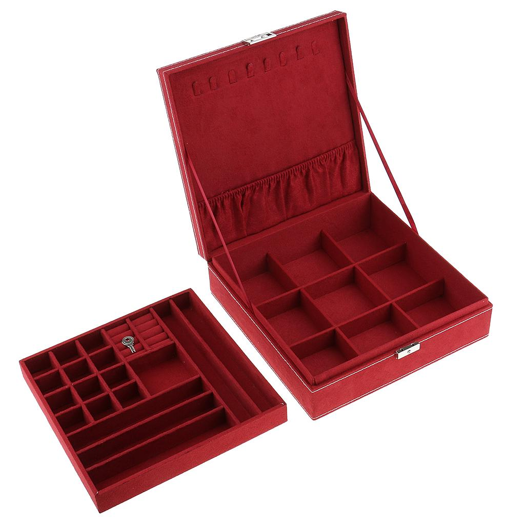 Wooden Box With Heart Shape Lock Storage Organizer Jewelry Gift Case Container