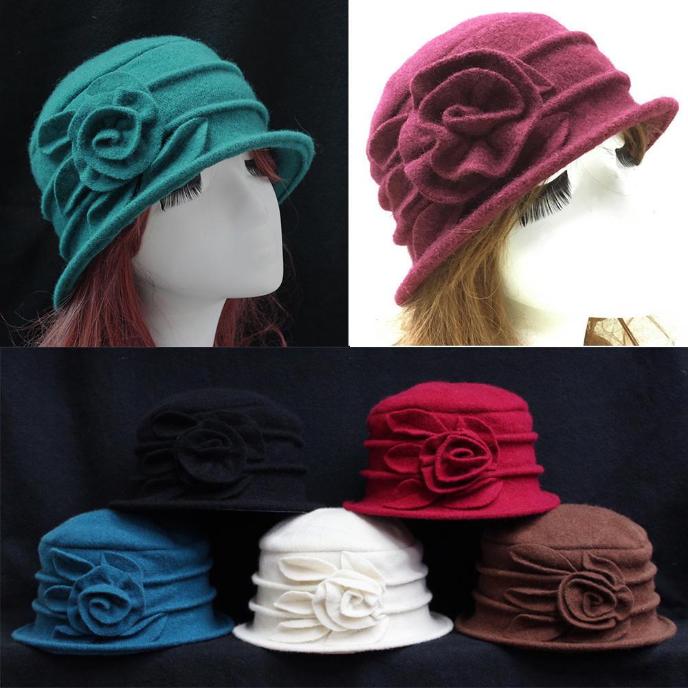 4c93f9c1d2c06 Elegant Women Lady Wool Church Cloche Flapper Hat Bucket Winter ...