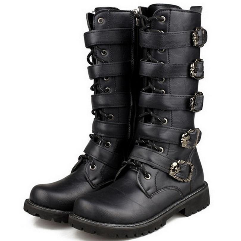 Botas de los hombres zapatos hombres negros botas de combate cuero botas militares hebilla del cinturón martín motocicleta