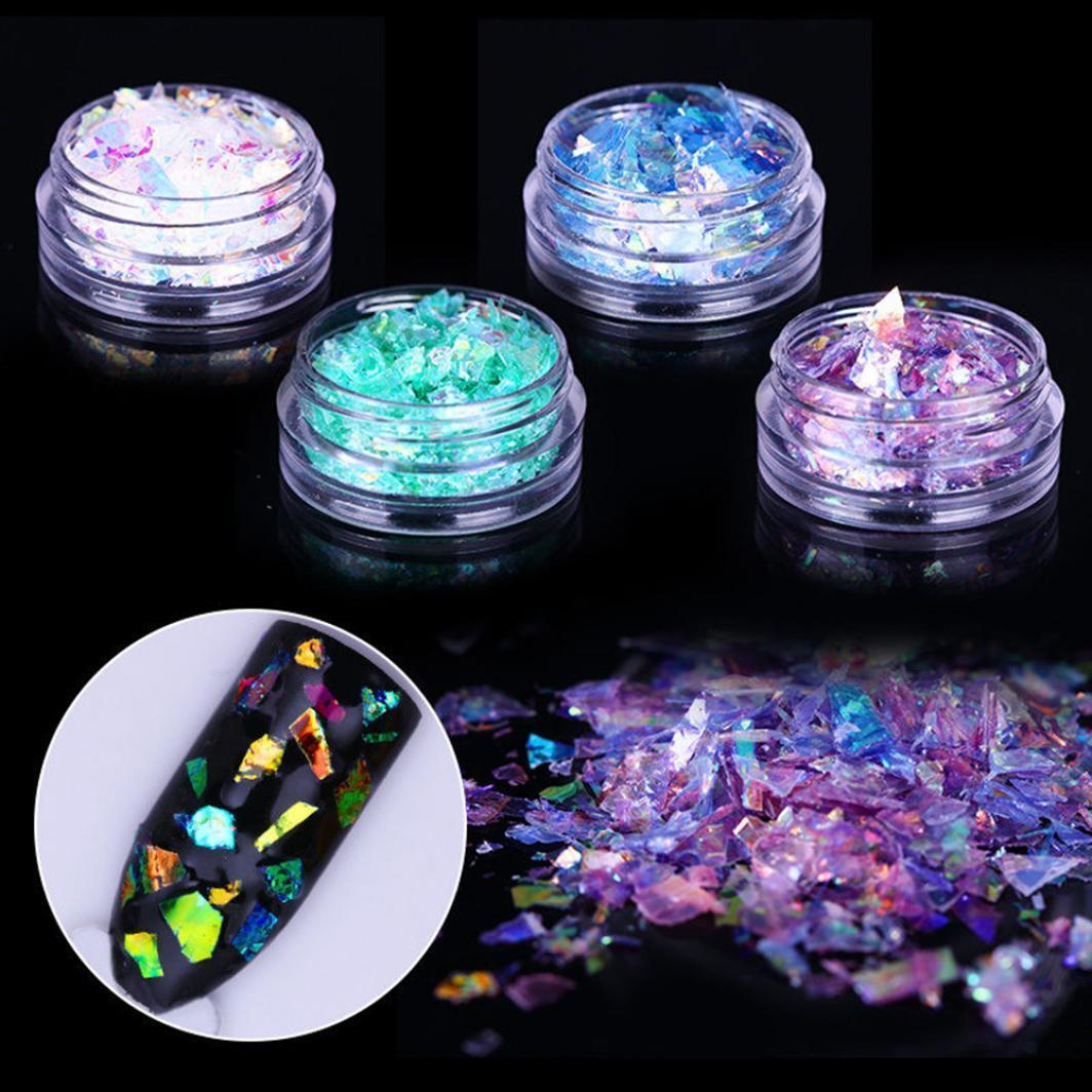 Giltter Sequines скло Люмінесцентні папір пилу порошок нігтів DIY декор арт