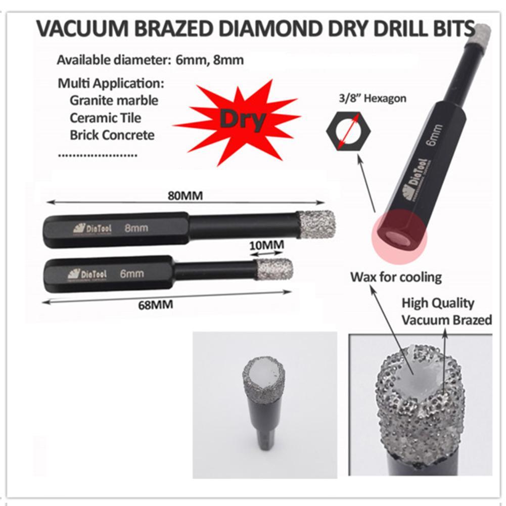 2pcs Hexagon shank Dia 8mm Vacuum Brazed Diamond Dry drilling bits Drill bits