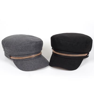 Wool Beret Woman Retro Flat Hats Autumn and Winter Warm Sailor Hat Gorras