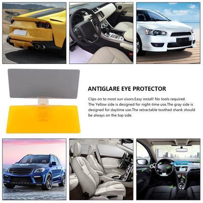 Car Sunshade Day Night Sun Visor Anti-Glare Clip-on Driving Vehicle Shield Yellow /& Grey