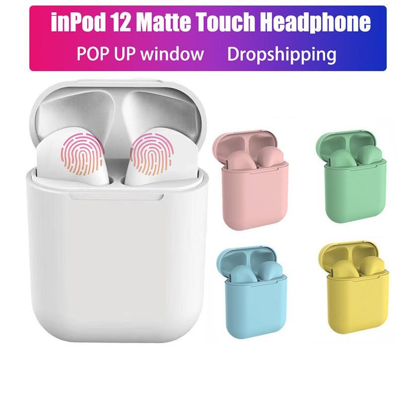 Красочные Inpods12 TWS TWS Earbuds 5.0 Bluetooth Наушники Беспроводная гарнитура для Iphone для всех Android Телефон фото