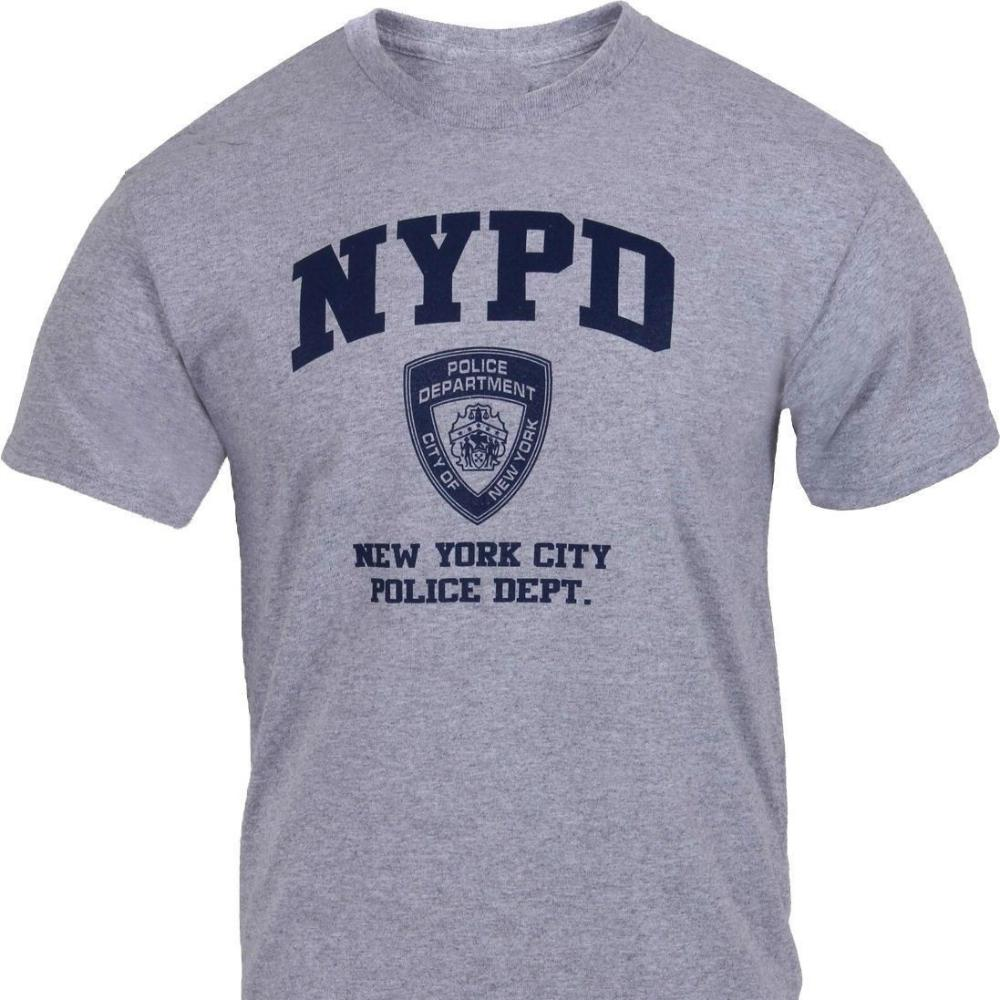 NYPD Short Sleeve White Print Logo T-Shirt Gray