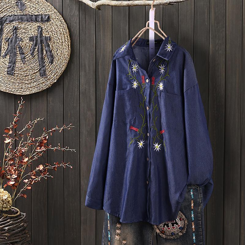 ZANZEA Women/'s Denim Blue Embroidery Long Shirt Tops Lapel Vintage Blouse Shirt