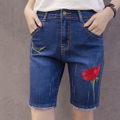 Las damas de flores bordado corto Jeans moda Burr verano