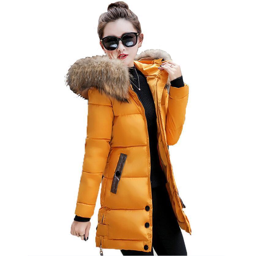 Зимняя куртка женщин большой меха с капюшоном куртка длинные пальто хлопка мягкий теплый женщины дамы зимнее пальто – купить по низким ценам в интернет-магазине Joom