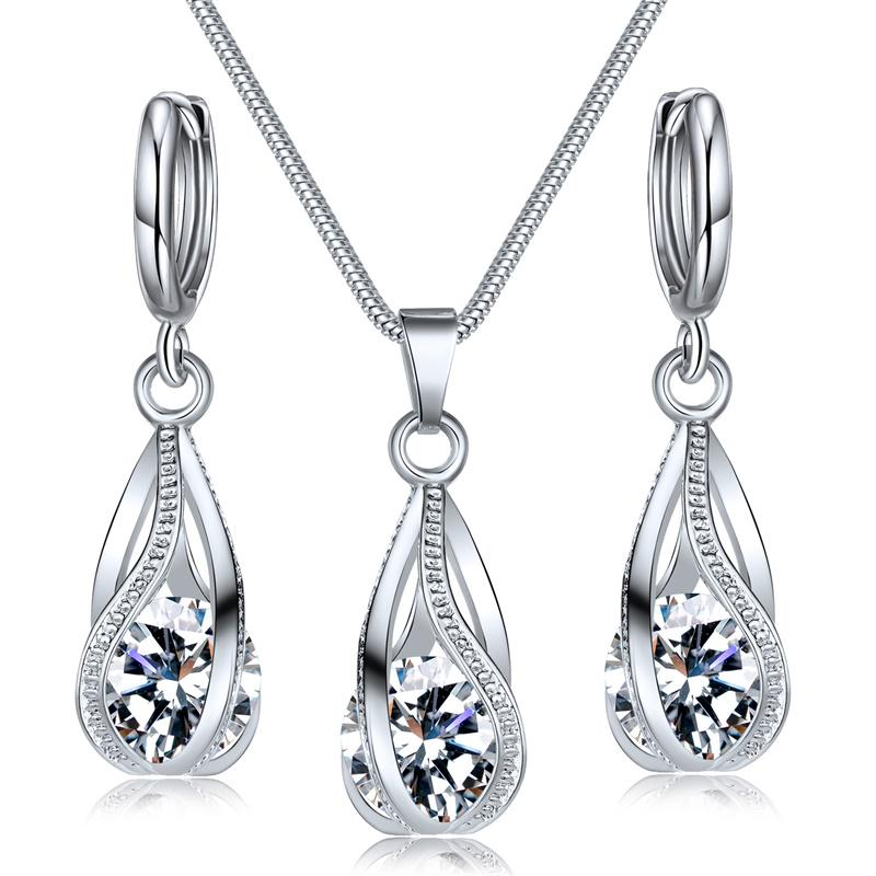 Мода Кристалл ювелирные изделия Набор Зиркон Ожерелье Серьги Установить Trinkets женские модные украшения фото