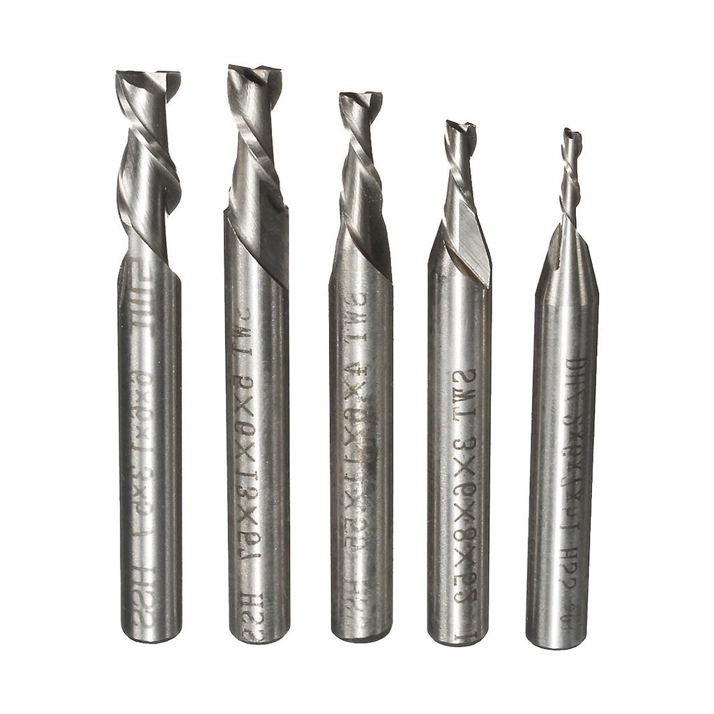 10Pcs 1//8/'/' 3.175mm Quality Carbide CNC 2 Flute Spiral Router Bits End Mill 52mm