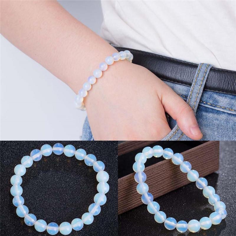 Мода 8 мм круглый кристалл лунный камень натуральный камень растягивается бисером браслет для женщин фото