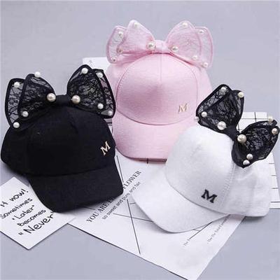 Toddler Kids Child Pearl Bowknot Bongrace Hat Peak Streak M Baseball Cap Sunhats