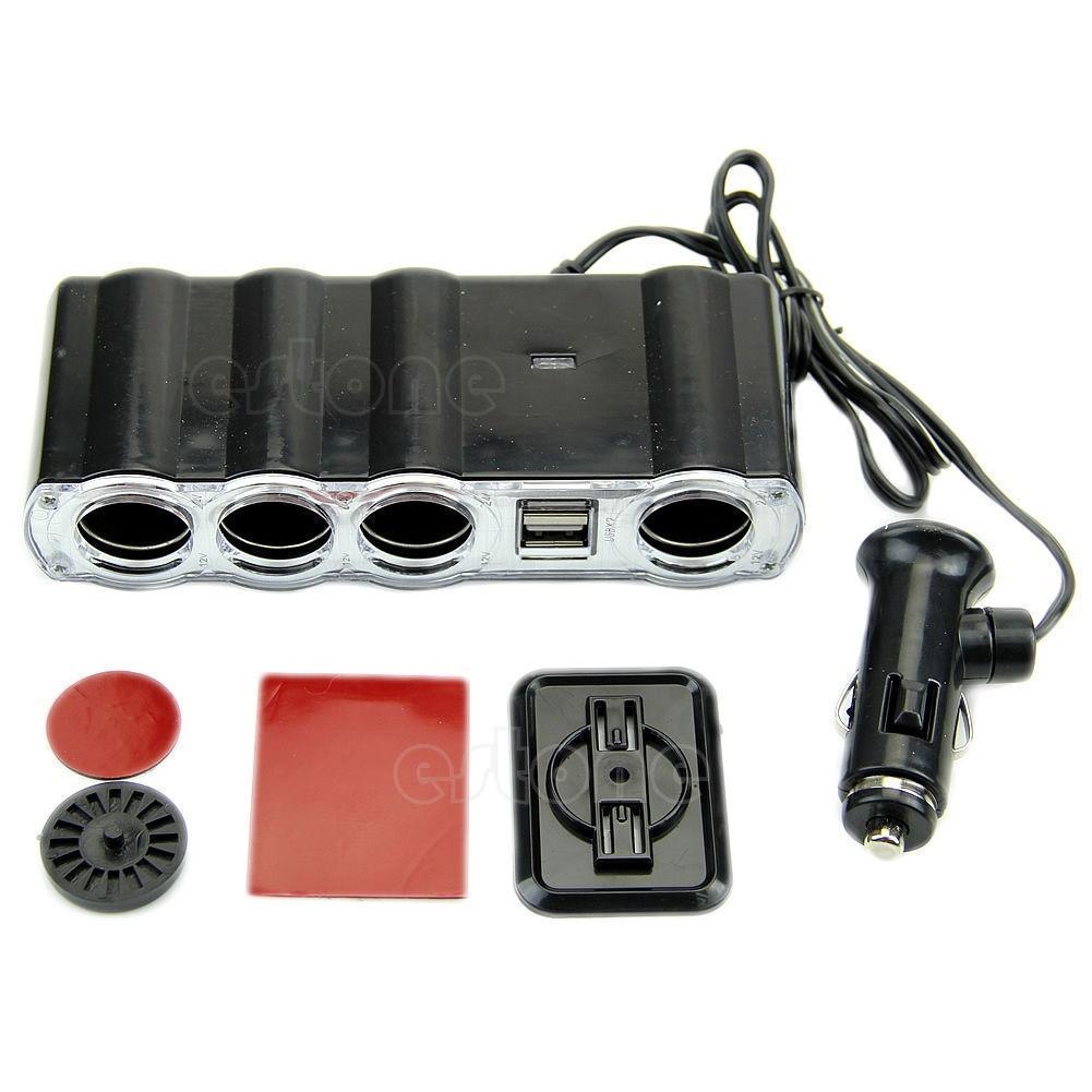 4-Wege Multi Steckdose Auto Zigarettenanzünder-Splitter USB-Stecker ...