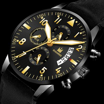 Men Watch Fashion Leather Strap Quartz Wrist Watch Gift