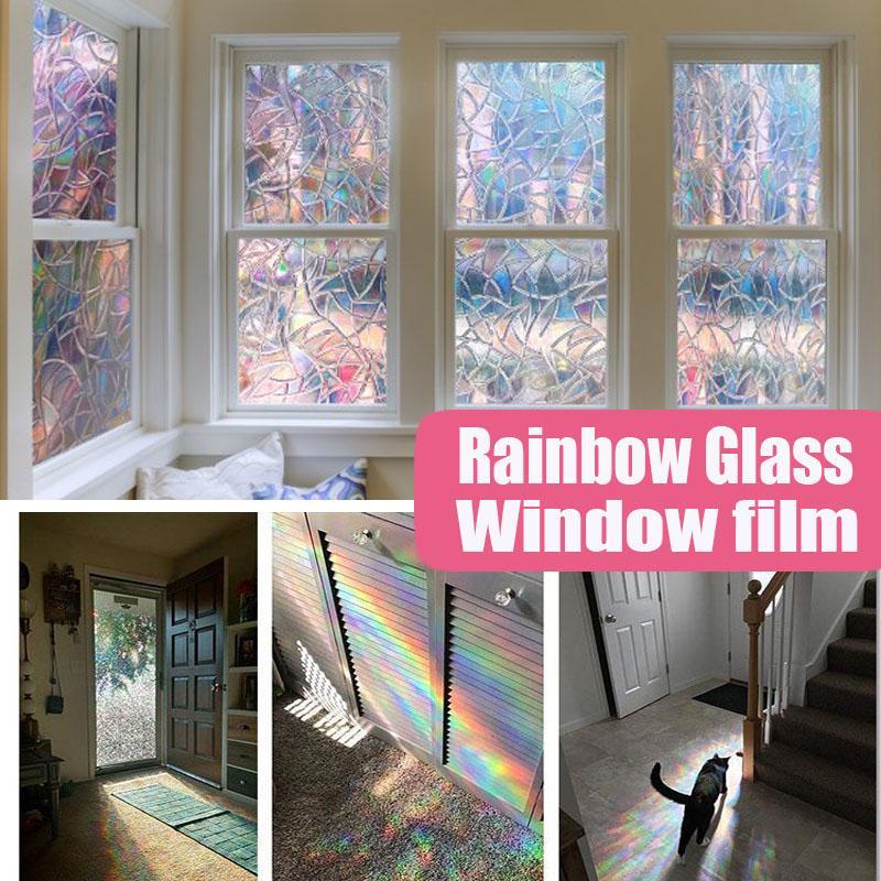 3D Window Glass Film Sticker Stained Anti UV Self-adhesive Black Flower Sticker
