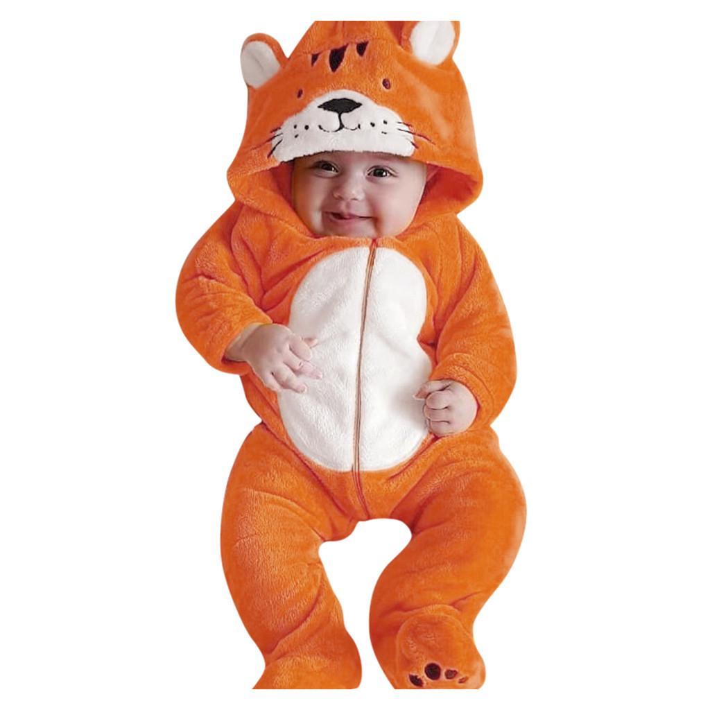 Newborn Infant Baby Boys Girls Long Sleeve Cartoon Fleece Hooded Romper Jumpsuit