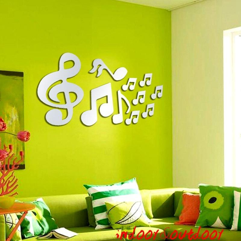 Musical Note Acrylic Pattern Mirror Wall Decortive Decal Art ...