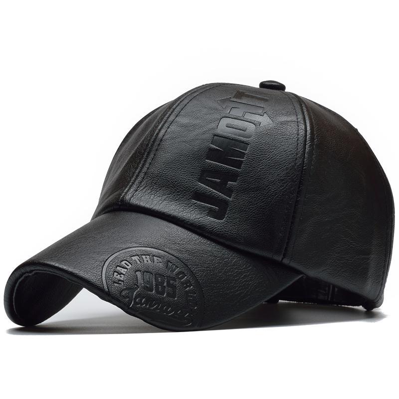 Весна Cap PU Кожа Бейсбол Мужчины Snapback Шляпа Дальнобойщик Папа