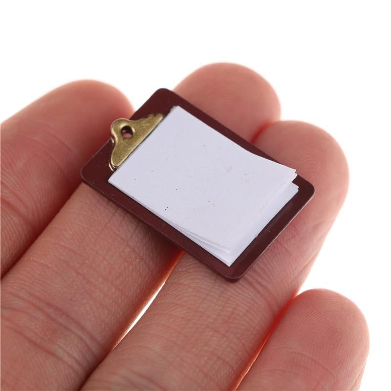 Mini Dollhouse Miniature Accessories Alloy Clipboard with Real Paper Attached RD