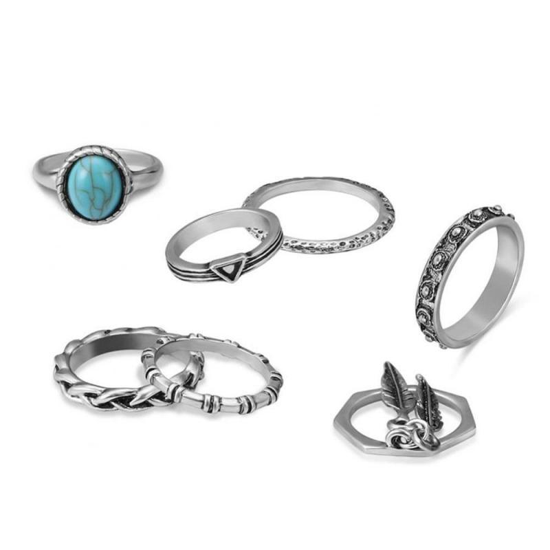 1Set//10Pcs Retro Women Calf Elephant Rhinestone Exaggerated Ring Set Jewelry