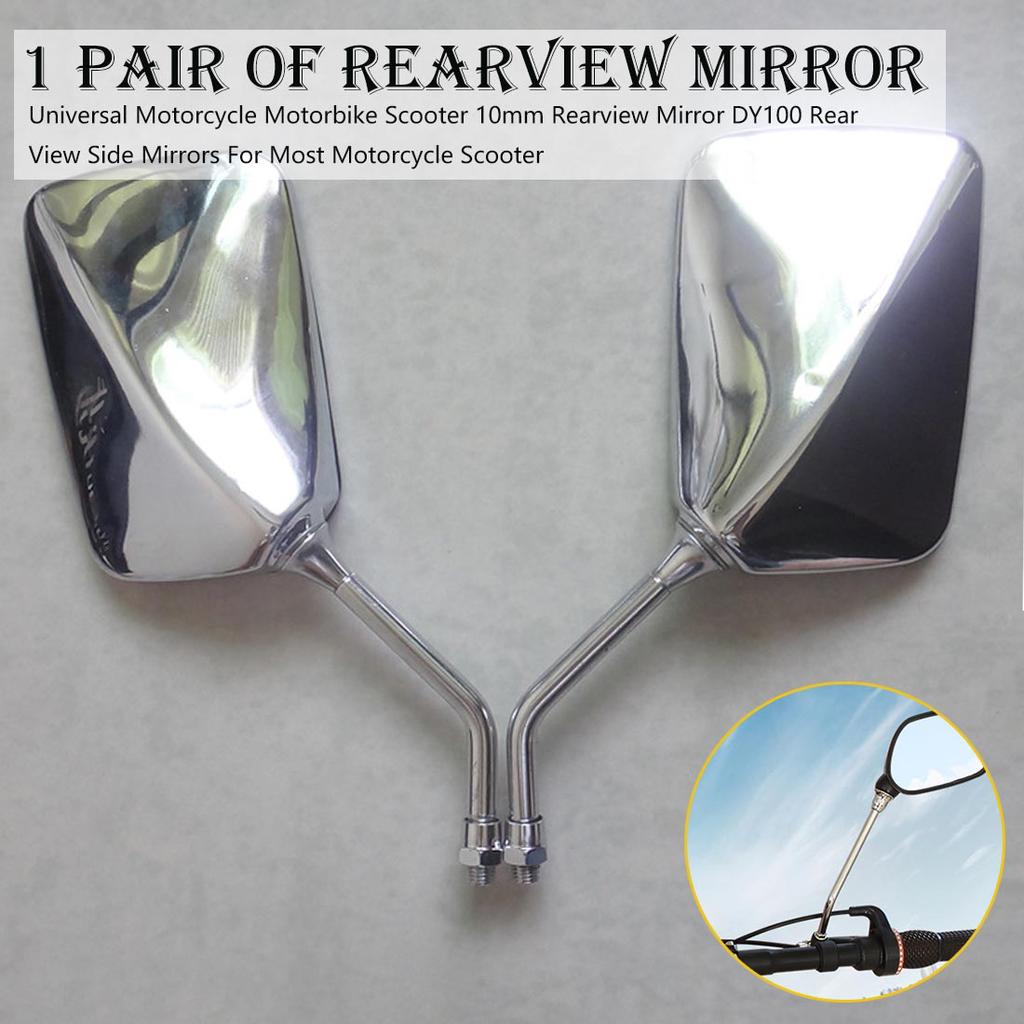 Motorcycle Mirror 1 Pair Universal Motorcycle 10mm Left and Right Side Rear View Mirror Black Motorcycle Rearview