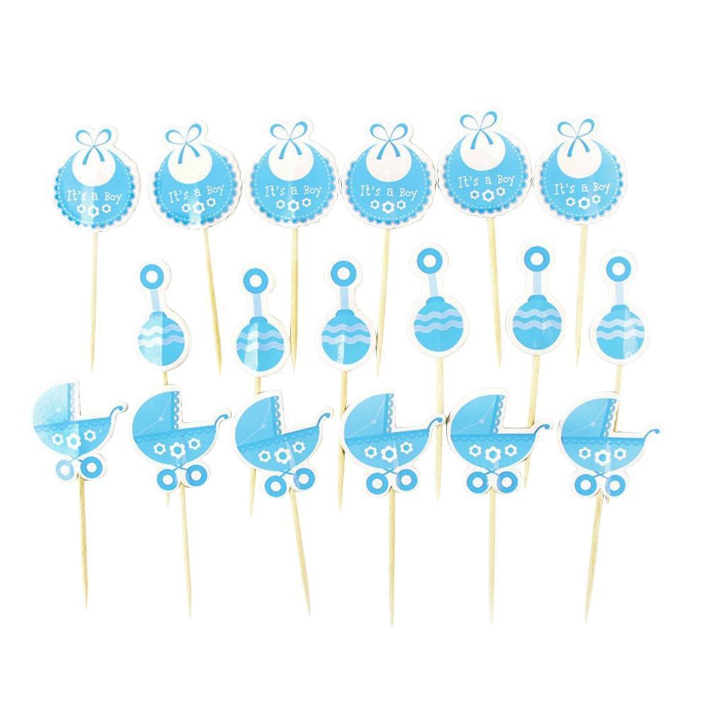 18Pcs Boy//Girl Type Kids Birthday Party Cupcake Toppers Baby Shower Cake Decor