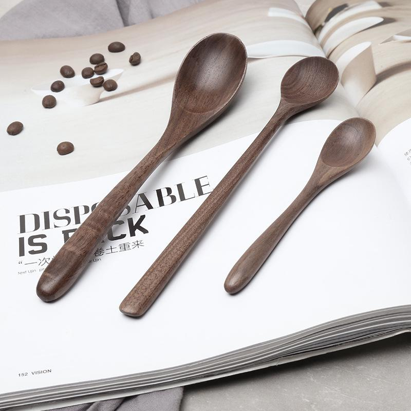 Black Walnut Coffee Honey Spoons Wooden Japanese Style Stir Scoop Soup Rice Spoon Kitchen Tableware-buy at a low prices on Joom e-commerce platform