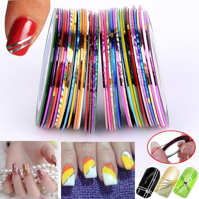 5pcs / набор ногтей проволока моды смешанных цветов рулонов чередование ленты линии DIY искусства советы украшения стикер фото