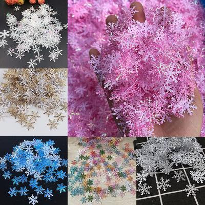 300pcs White Snowflake Christmas Holiday Party Home Decor Charms Festival Christmas Decorations